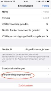 Home Assistant iOS Push Notification App Benachrichtigungsoptionen