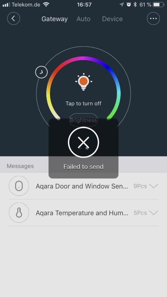 Xiaomi Mi Home App - Aqara Gateway V3 - Device View