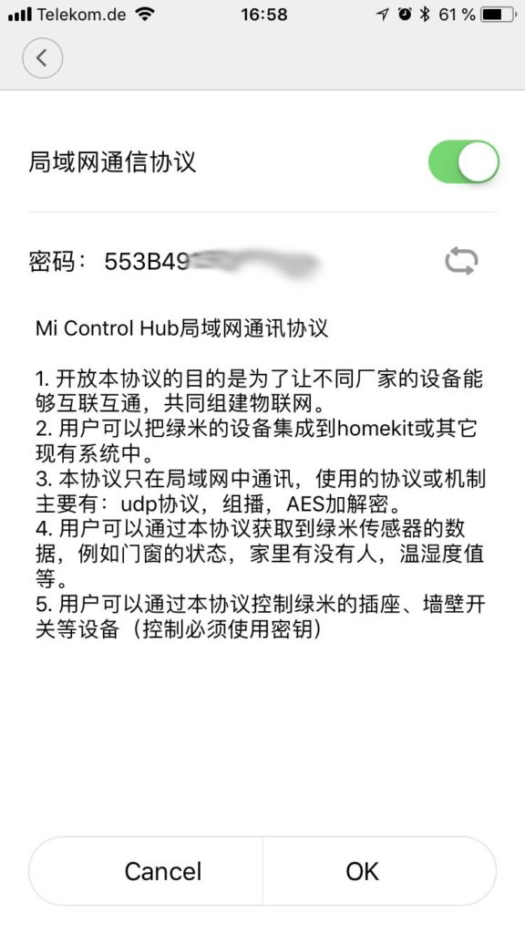 Xiaomi Mi Home App - Aqara Gateway V3 - Lokalen IP-Zugriff aktivieren