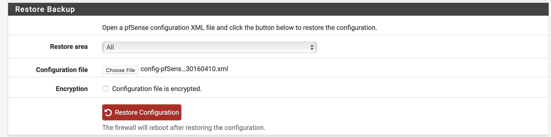 pfSense config wieder einspielen - XTM5 Neusinstallation